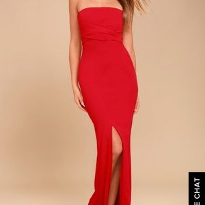 Lulus own the night red strapless dress size XS